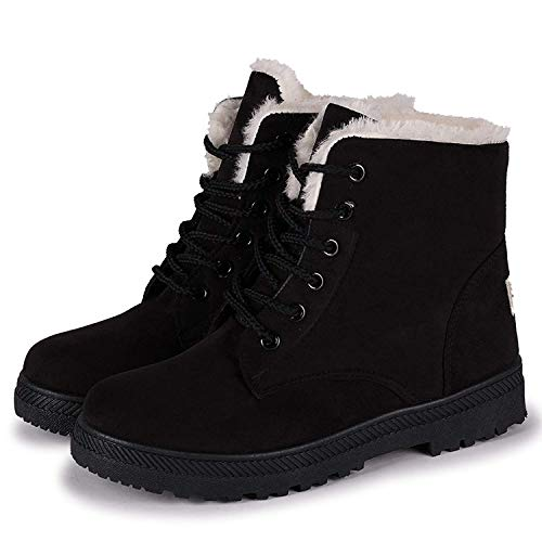Vuticly Womens Flat Platform Snow Boots lace up Waterproof Round Toe Winter Shoes Combat Boots Black Suede