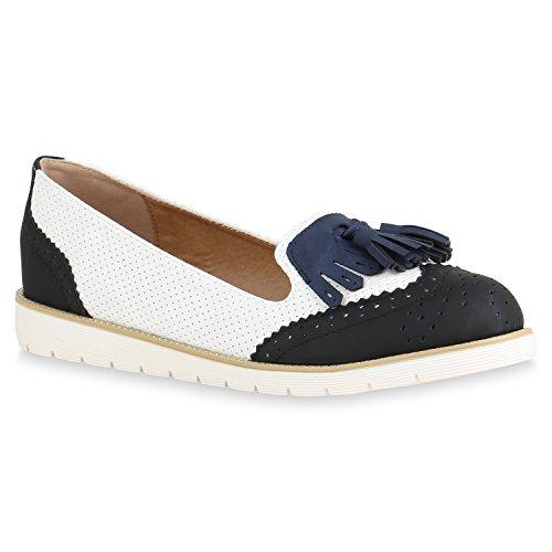 Damen Slipper Lack Plateau Loafers Metallic Schuhe Profilsohle Loafer Flats Glitzer Slippers Quasten Lochung Flandell Schwarz Agueda