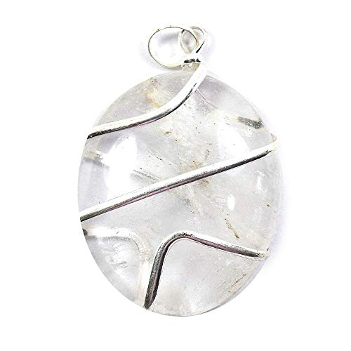 Reiki Crystal Products Clear Quartz Natural Stone Pendant Wire Wrapped Oval Pendant Semi Precious Stone Pendants for Unisex ()