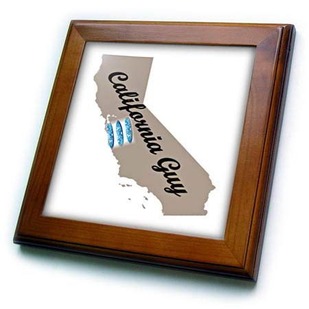 3dRose Lens Art by Florene - State Pride Boy and Girl - Image of California Guy Words On State Outline with Surfboards - 8x8 Framed Tile (ft_318948_1) ()