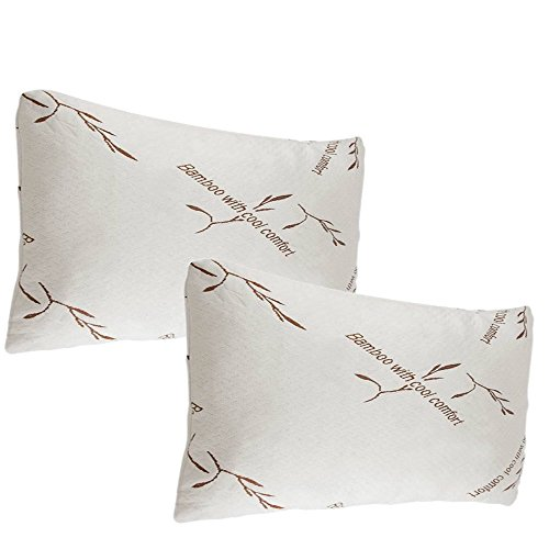 [2 Pack Bamboo Memory Foam Pillows Queen Size Hypoallergenic] (Three Sheets To The Wind Halloween Costume)