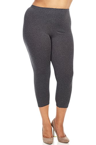 Bozzolo Womens Ladies Plus Size Capri Leggings (XL, charcoal heather)