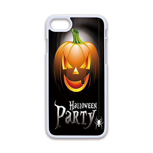 Phone Case Compatible with iPhone7 iPhone8 White Soft Edges 2D Print,Halloween,Halloween Party Theme Scary Pumpkin on Abstract Modern Backdrop Spider Decorative,Silver Black Orange,Hard Plastic P ()