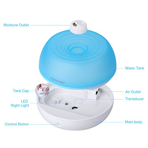Homasy 800ml Ultrasonic Cool Mist Humidifier One Touch