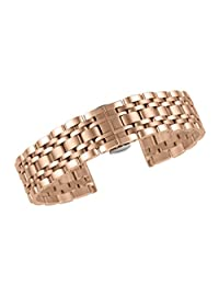 23mm Well Crafted Metal Strap For Men's Watches In Rose Gold Stainless Steel Solid Links Straight End
