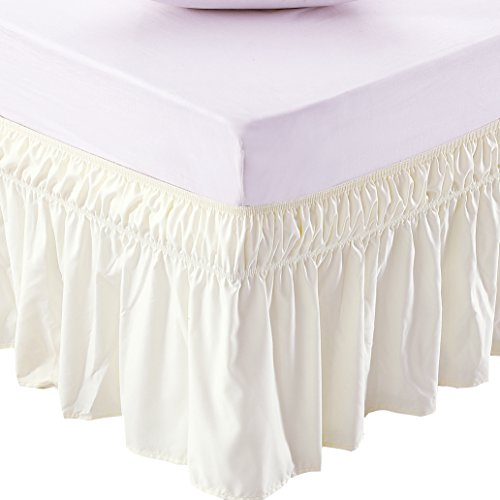 MEILA Three Fabric Sides Wrap Around Elastic Solid Bed Skirt, Easy On/Easy Off Dust Ruffled Bed Skirts 16 inch Tailored Drop (Twin/Full, Ivory)