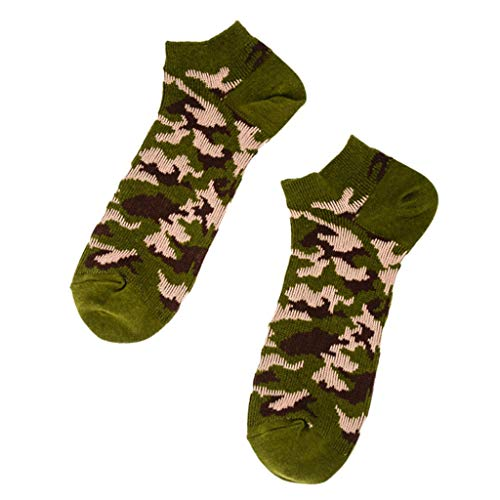 - Mens Vintage Camouflage Print Cotton Socks Cute Cushion Ankle No Show Low Cut Short Socks for Gift Training Travel Sports (Army Green)