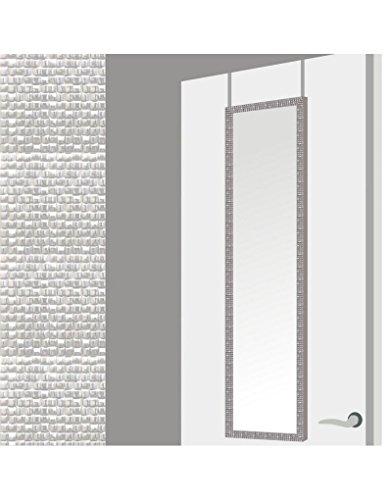 Espejo para Puerta Moderno, Plateado con Diseno de Baldosas, para Dormitorio, sin Agujeros (34,7cm X 1,5cm X 125cm) -Hogar y Mas
