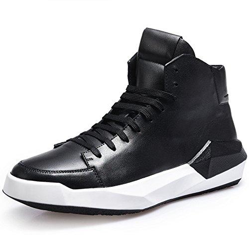 De De Chaussures De Cuir 39 De Chaussures Les Noires White Marée Chaussures Des Chaussures Fond Haut Cuir De Des Décontractées Dessus Augmentent Rétro Hommes En En Épaisses q1UA61wBO