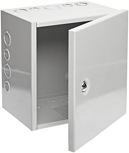 "BUD Industries JBH-4961-KO Steel NEMA 1 Sheet Metal Box with Knockout and Hinged Cover, 10"" Width x 10"" Height x 6"" Depth, Gray Finish (Renewed)"