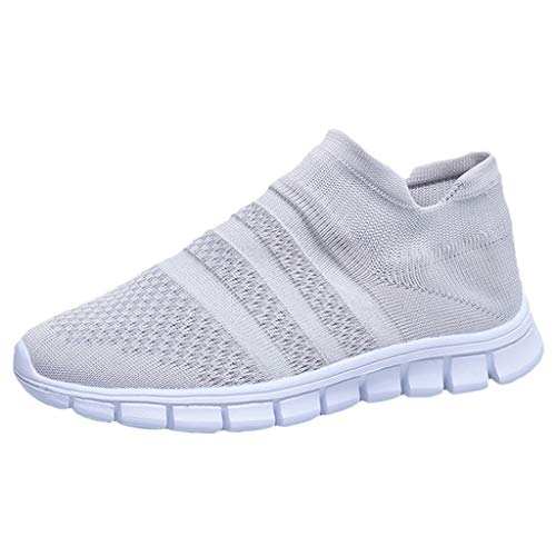 〓VigorY〓Women Running Lightweight Breathable Casual Sports Shoes Sneakers Walking Shoes Mesh Slip On Air Cushion (Belted Flat Over The Knee Moto Boots)