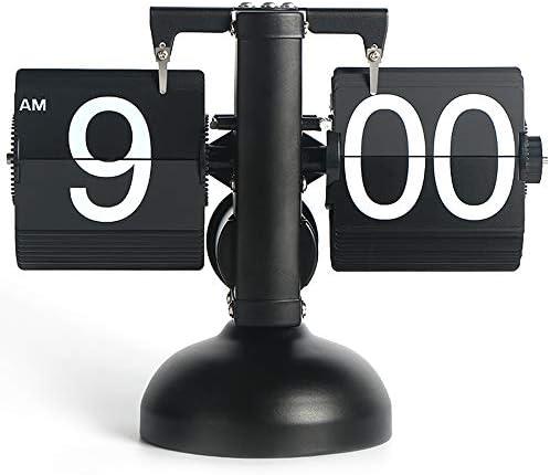 MIDCLOCK Flip Desk Clock, Retro Style Flip Clock, Cool Unique Clock for Home Decoration, Large Number Flip Down Clock, Battery Powered Black
