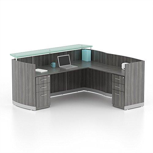 Mayline MNRSLBBLGS Medina Series Reception Station with Return and 2 Box/Box/File Pedestals, 87-1/4