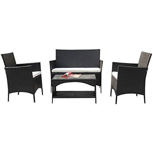P PURLOVE 4 PCS Rattan Patio Furniture Set Outdoor Garden PE Wicker Cushioned Sofa Lawn Furniture Conversation Set with Coffee Table (White Cushion)