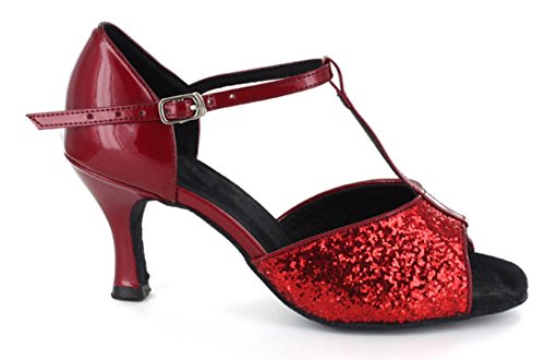 Tda Kvinners T-strap Peep Toe Komfort Salsa Tango Ballroom Latin Moderne Dans Bryllup Sko Rød Glitter