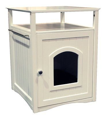 Cat Hidden Litter Box Cabinet House Bed Furniture Washroom Nightstand Table Dog (Cherry Painted Cabinet)