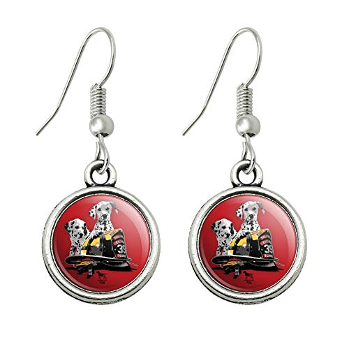 GRAPHICS & MORE Dalmatian Dogs Firefighter Fire Helmet Novelty Dangling Drop Charm Earrings]()