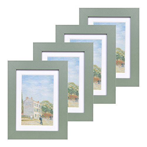 5x7 Wood Picture Frame - Flat Profile - Set of 4 - for Picture 4x6 with Mat or 5x7 without Mat (Green 5x7 Photo)