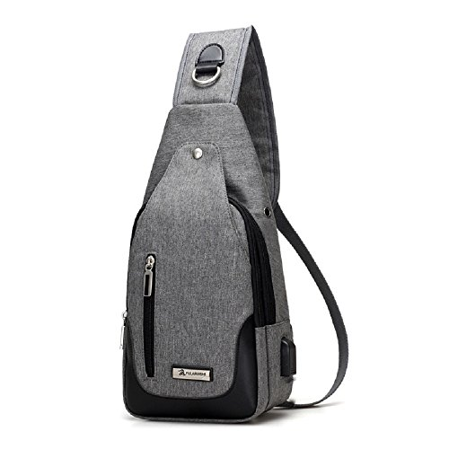 Men Sports Usb Grey Shoulder Waterproof Bag Backpack Casual Chest Zhrui qwEWg7H6g