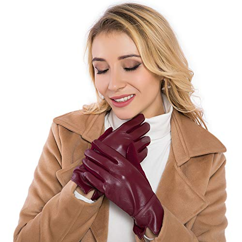 - Women Leather Gloves Winter Touchscreen Warm Plain Gloves- Touch Screen Texting for Phone (red)