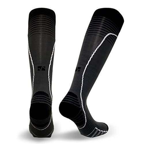 Vitalsox Italian Premium Patented Graduated Compression Silver Drystat Running Socks(1Pair-Compression), Black/Grey, -