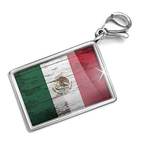 Mexican Set Bracelet - Clip on Charm & Bracelet Set Flag on Wood Mexican Lobster Clasp