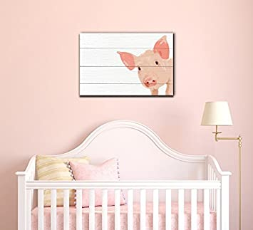 wall26 – Pig on Wood Plank Background – Canvas Art Wall Decor – 16 x24