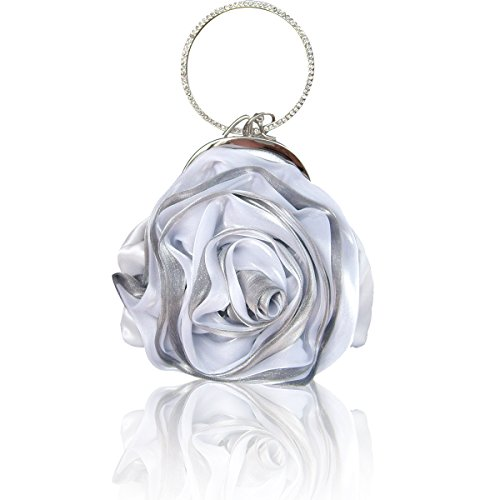 Rose Silver Purse Flower Money Handbag Womens Evening Ruiatoo Party Clutch Muticolor Clutch PUgx0w