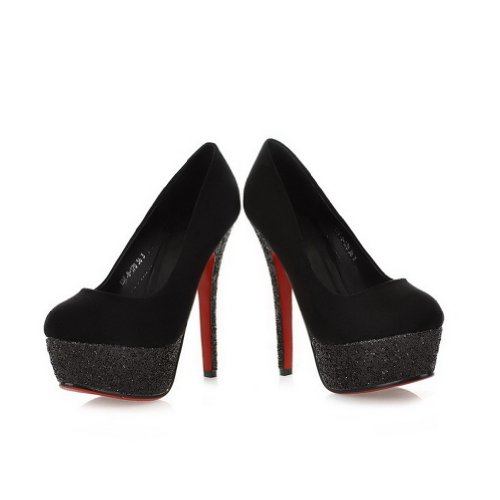 VogueZone009 Womans Closed Round Toe High Heel Spikes Stilettos PU Frosted Solid Pumps with Platform, Black, 5.5 UK