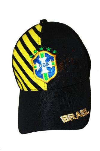 非常にバルセロナ叫ぶBrasilブラジルブラックとイエローストライプ。。CBFロゴFIFA Soccer世界Cup。。FlexFit帽子キャップ。。。。新しい