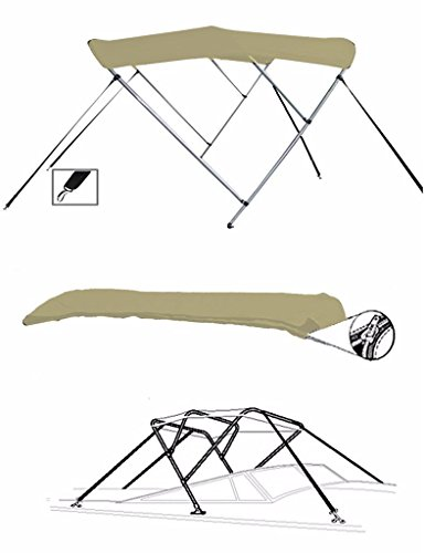 - SBU-CV 7oz Khaki 3 Bow Round Tube Boat Bimini TOP Sunshade for Bass Tracker/Tracker / SUNTRACKER Tundra 18 Walk-Thru Windshield 2003-2007