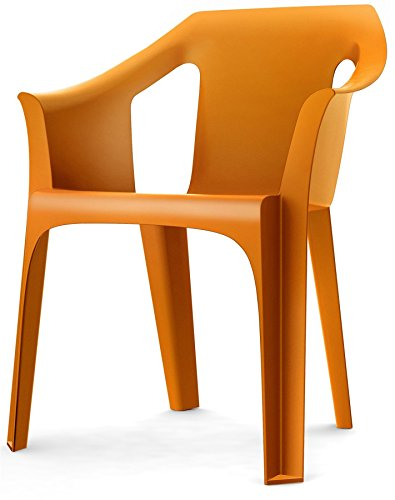 Resol 'Cool' Garden Outdoor / Indoor Designer Plastic Chair - Orange - Garden Furniture (1 Chair)