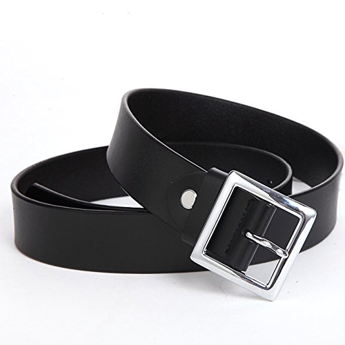 Ayli Women's Jean Belt, Square Buckle Handcrafted Genuine Leather Belt, Free Gift Box, Black, Fits Waist 32'' to 35'' (US Pants Size 12-16), bt3w005bk105 by As You Like It (Image #2)
