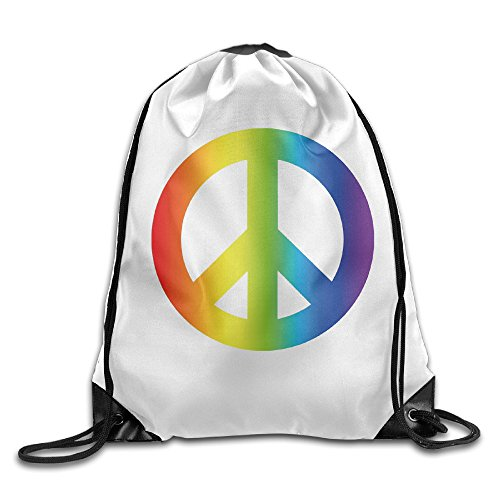 Rainbow Peace Sign Cool Drawstring Travel Sports Backpack