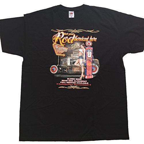 "Hotrod T Shirt Orginal USA Motiv ""ROD SERVICED HERE"" Fun Rat Motorrad Hotrod Biker Pin Up Girl"