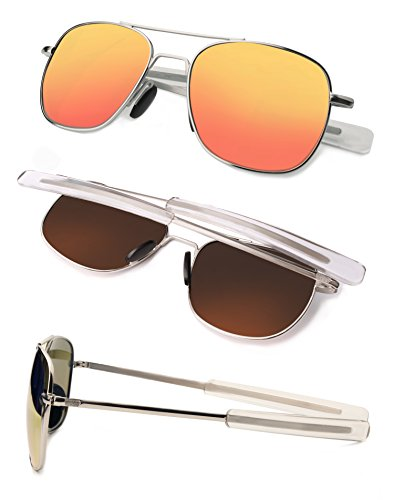 FAPIR Retro Polarized Aviator Sunglasses For Men UV Protection Mirrored Metal Military Pilot Glasses (Silver&Orange Red, 55)