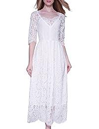 Women's Vintage 3/4 Sleeve Formal Elegant Lace Long Bridesmaid Dress