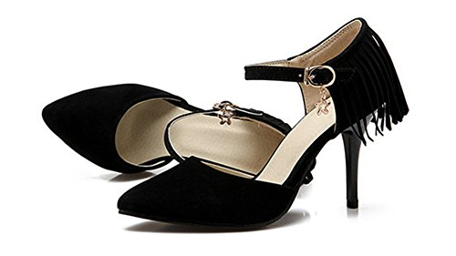 Bride Stiletto Noir Cheville Aisun Sexy Escarpins Frange Femme SqOwq8xt4
