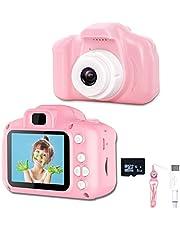 KEMOO Kids Camera, Digitale Camera 2 inch voor Kinderen met Video Recorder & Lanyard Anti-Drop Design Mini Camera USB Transfers Jongens Meisjes Creatieve geschenken, Camera voor Kinderen (8GB Card Inbegrepen.Roze)