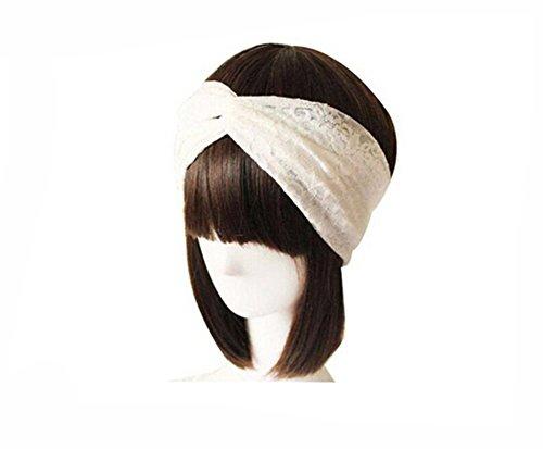 Butterme Frauen Spitze Verdrehte Knotted weiche Haar-Band Retro Turban Twist Kopfverpackung Stirnband (Weiß)