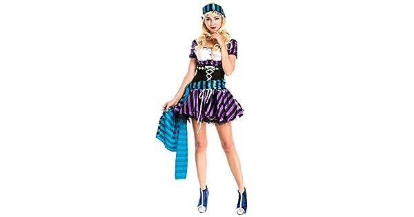 Amazon.com: Disfraz de pirata de rayas para mujer, vestido ...