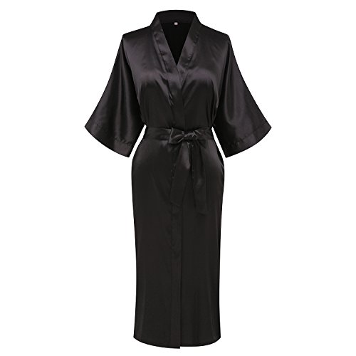 goodmansam Women's Plain Color Satin Kimono Robes Elegant Style Nightgown,Long