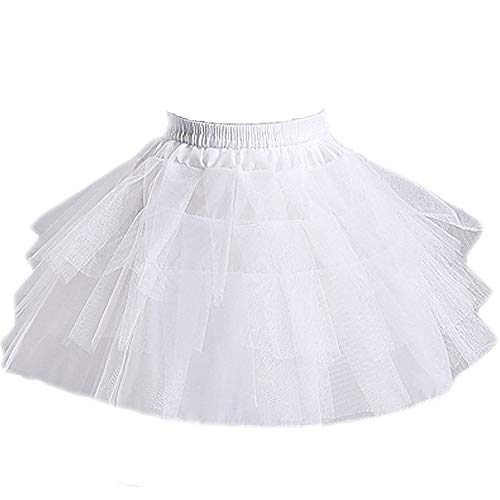 QueenDress Kids Hoopless Mini 3 Layers Wedding Flower Girl Petticoat Underskirt Crinoline Slip White ()