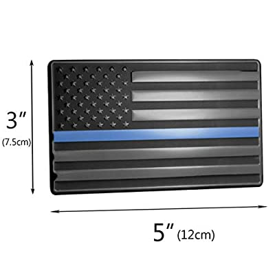 USA American Embossed Stainless Steel Metal Flag for Cars, Trucks Show Support of Police and Law Enforcement Officers Black with Thin Blue Line 5