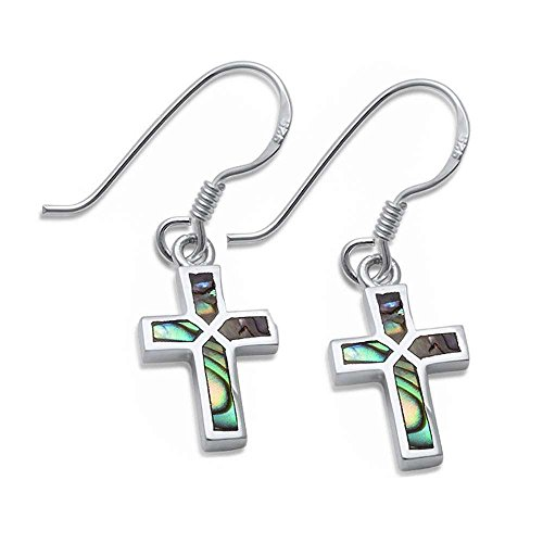 Dangle Style Abalone Shell Cross .925 Sterling Silver Earrings