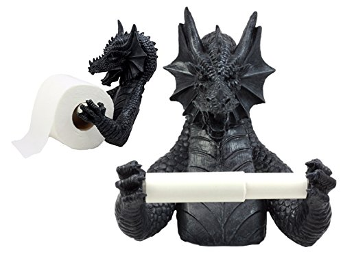Ebros Gift Mythical Gothic Ancient Serpentine Dragon Toilet Paper Holder Figurine 8.5