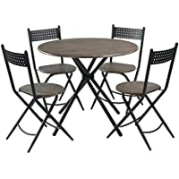 Homy CASA 5PCS Dining Room Set Walnut Table Seat Top Metal Legs Chopstick Folding Chairs Patio Garden Outdoor Living