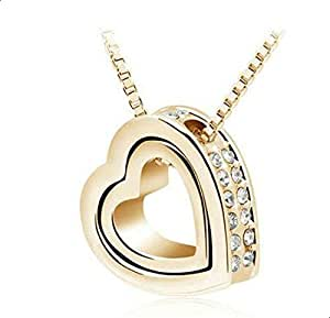 Necklace for women in heart shape inlaid with white zircon