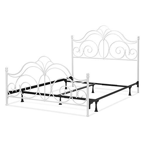 Leggett & Platt Rhapsody Complete Metal Bed and Steel Support Frame with Delicate Scrolls and Finial Posts, Glossy White Finish, Full