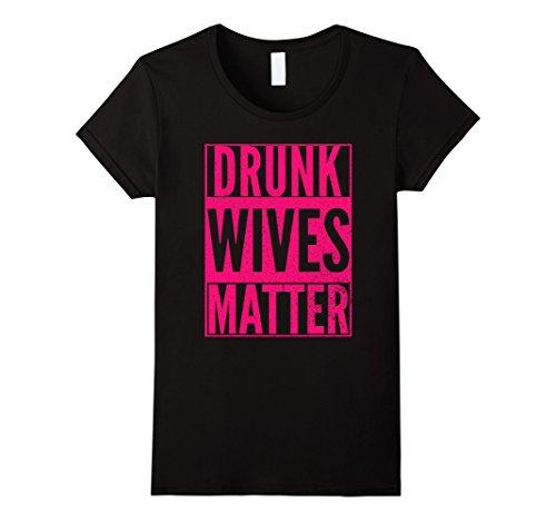 Drunk Halloween (Womens DRUNK WIVES MATTER Cute Pink Wife Halloween Drinking Shirt Small Black)